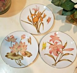 3 Decorator Ceramic Wall Hanging Plates 6 1 2quot; Butterflies amp; Lilies Coral melon