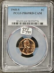 1968-s Lincoln Head Cent. In Pcgs Holder. Pr69 Red Cameo. F799