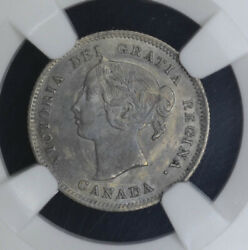 Canada 5c Cents Nickel 1900 Au58 Ngc Silver Km2 Round O Large Date Key Type