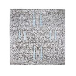 8and039x8and039 Cypress Tree Design Silk With Textured Wool Hand Knotted Square Rug R48943