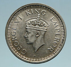 1945l India Uk States King George Vi Old Genuine Silver Rupee Indian Coin I82873