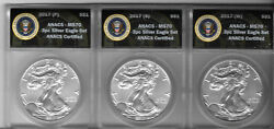 2017 Psw American Silver Eagle Ms70 Presidential Seal Anacs Certified 3 Coin Set