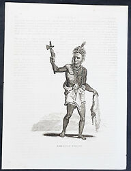 1819 Rev James Barclay Antique Print Of A Native American Indian