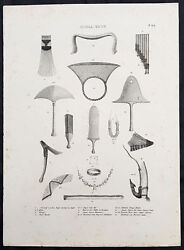 1836 Dumont D Urville And Brodtmann Antique Print Weapons, Tools Etc Tonga Islands