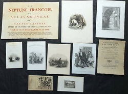 17th - 19th Century Antique Atlas Books Title Pages Frontispieces X 10 Jaillot