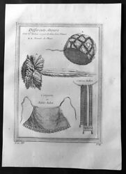 1755 Prevost Antique Print Of North American Indian Clothes - Hats, Belts, Apron