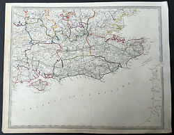 1845 Sduk Large Antique Map Of Se England Centering On The Thames And London