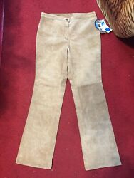 Nwt Covington Suede Pants Size 10 Genuine Leather Cowgirl Bootcut Washable