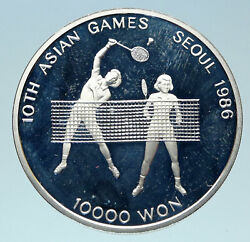 1986 South Korea Seoul Olympic Games Tennis Proof Silver 10,000 Won Coin I83092