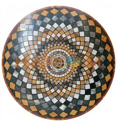 48 Geometrical Inlay Art Black Marble Center Dining Table Top Home Decors B659a