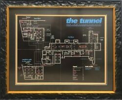 Extremely Rare Framed Foldout Flyer Map Of The Tunnel Nightclub Nyc. Sold As Is.