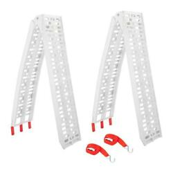 2x 7.5and039 1500lb Heavy Duty Aluminum Motorcycle Arched Truck Folding Loading Ramps