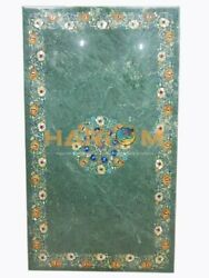 25and039and039x50and039and039 Green Marble Dining Table Top Hakik With Multi Stone Inlay Decor B202