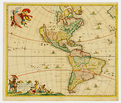 1670 Frederick De Wit Antique Map Of America California Island And 5 Great Lakes