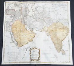 1755 D Anville And Bolton Large Antique Map Of Asia Turkey Saudi Arabia India