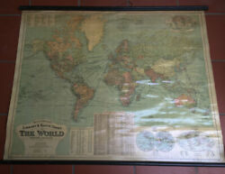 1912 Gw Bacon Antique Bespoke World Map With Global Steamship And Railway Routes