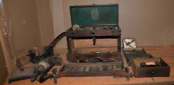 Antique Leather Workers Oak Tool Chest Vise Brass Embossing Plates Saddle Maker