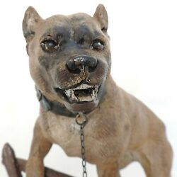 ANTIQUE CHARLES VALTON BRONZE STAFFORDSHIRE BULL TERRIER CHAINED TO FENCE SIGNED