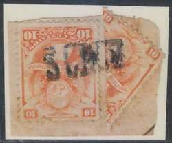 Bolivia 1878 Arms And Law Sc 21 Single And Bisected On Piece S.cruz S/l Cancel