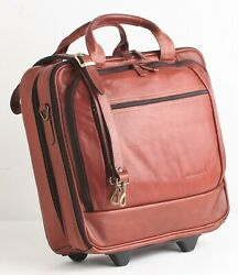 Rolling Laptop Carry-on Business Overnight Bag Leather Wheeled