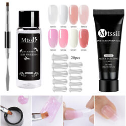 Mtssii Poly Quick Extension Builder Uv Gel Kit Nail Art Tips Dual Forms Brush Us
