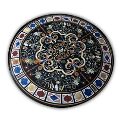 48and039and039 Round Black Marble Top Scagliola Dining Table Rare Inlay Kitchen Decor B402