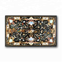 27and039and039x54and039and039 Black Marble Dining Table Pietradura Top Home Inlay Furniture Art B374