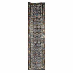 3and039x12and0394 Antique Caucasian Kazak Double Medallion Rows Runner Fine Rug R49053