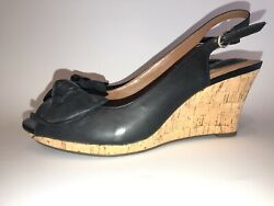 Clarks Artisan Peep Toe Cork Heel Wedge Black Bow Sandals Model 60703 9 m