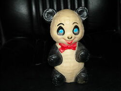 Vintage Sanitoy Rubber Panda Bear Squeeky Toy Black White Blue Eye Exc Cond