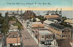 c.1910 BIrd's Eye View from City Hall Tower looking SW Key West FL post card