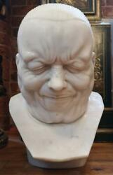 Solid Hand Carved Marble Bust / Character Head Franz Xaver Messerschmidt Style