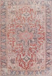 Pre-1900 Antique Geometric Red 8and039x11and039 Heriz Serapi Vegetable Dye Wool Area Rug