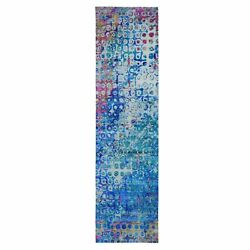 3and039x12and0394 The Peacock Sari Silk Colorful Hand Knotted Runner Oriental Rug R49088