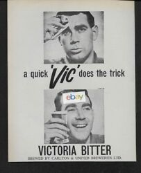 Victoria Bitter Beer Ale From Australia A Quick Vic Does The Trick 1964 Ad