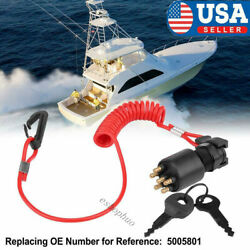 Ignition Switch Key W/lanyard For Omc Brp 1996 Up Johnson Evinrude 5005801 Boat