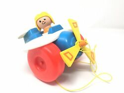 Vintage 1980s Fisher Price Plane Plastic Helicopter Airplane Pull Toy