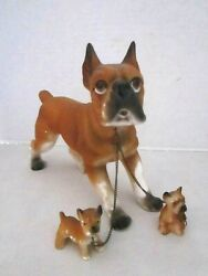 Vintage boxer dog with 2 pups puppies ceramic figurines Wales Japan.