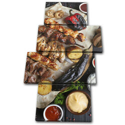 Chicken Meat Bbq Barbecue Food Kitchen Multi Canvas Wall Art Picture Print