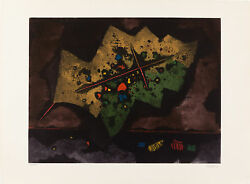 Ardon Mordecai, Leaf With A Cross, Sandn Etching Aquatint,1970 Signed, From Dealer