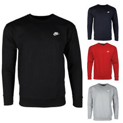 Nike Menand039s Athletic Wear Embroidered Logo Club Crew Neck Gym Active Sweatshirt