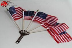 5 Post Vintage Style Parade Mini Flags Holder Cycle Car Truck Stainless Steel