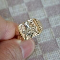 Vintage Masonic Shriners 14k Yellow Gold Ring With Old Cut Diamond Size 8.25
