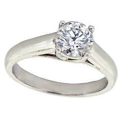 0.97ct Natural Round Cut Diamond Solitaire Bridal Engagement Ring 14k White Gold
