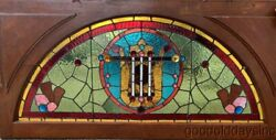 Large Victorian Arched Stained Leaded Glass Transom Window W/ Jewels 56 X 27