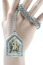Thai Natural Hand Carved Buddha Amulet In Silver Case Pendant Necklace