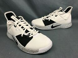 Nike Men's PG 3 Basketball Sneakers Mesh White Black Wolf Grey Size 10.5 NEW!