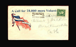 Us Stamp Used, F/vf S279 Spanish-american War Patriotic Cover A Call For 75,00