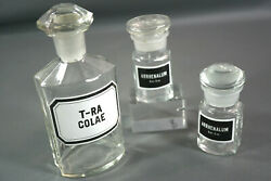 3 Antique Apothecary Pharmacy Rx Druggist Medicine Cure Glass Bottles Jars Colae