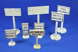 Lionel - Railroad And Road Signs - 8 Signs - Cream Color - Good Condition